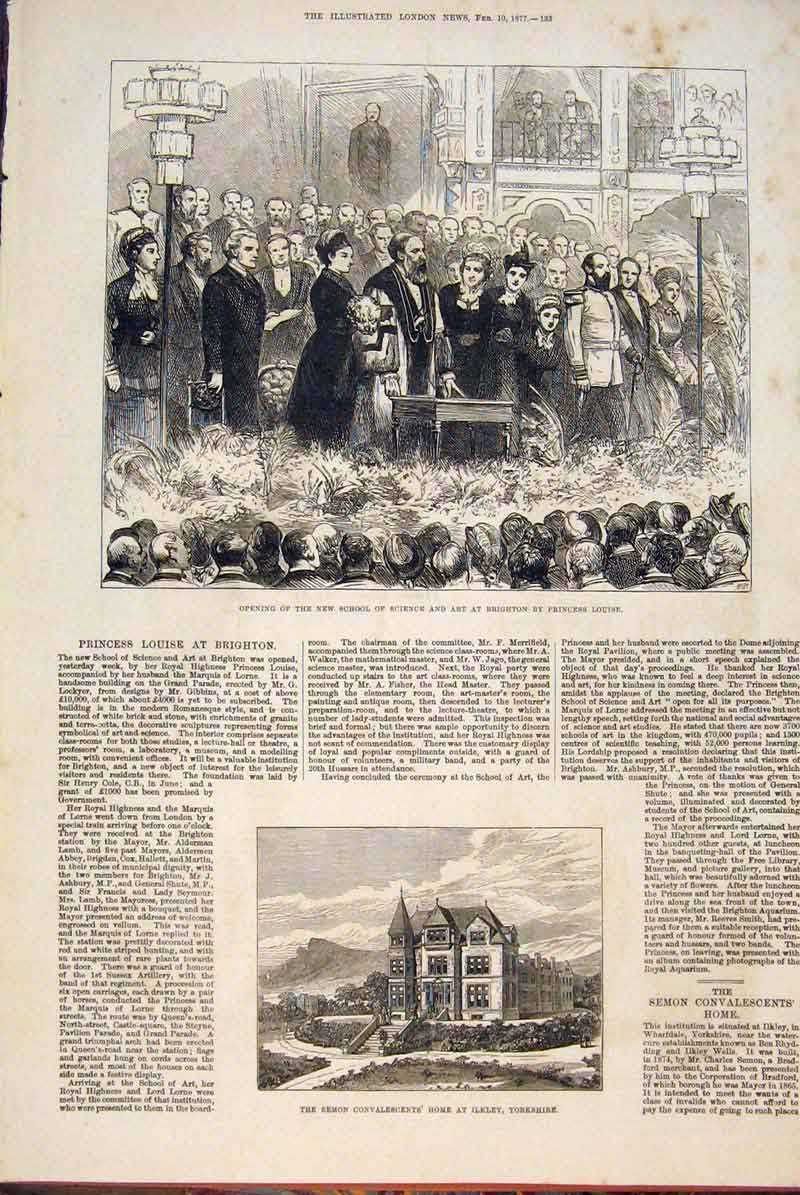 Print School Science Brighton Semon Convalescent Ilkley 1877 33Maa0 Old Original