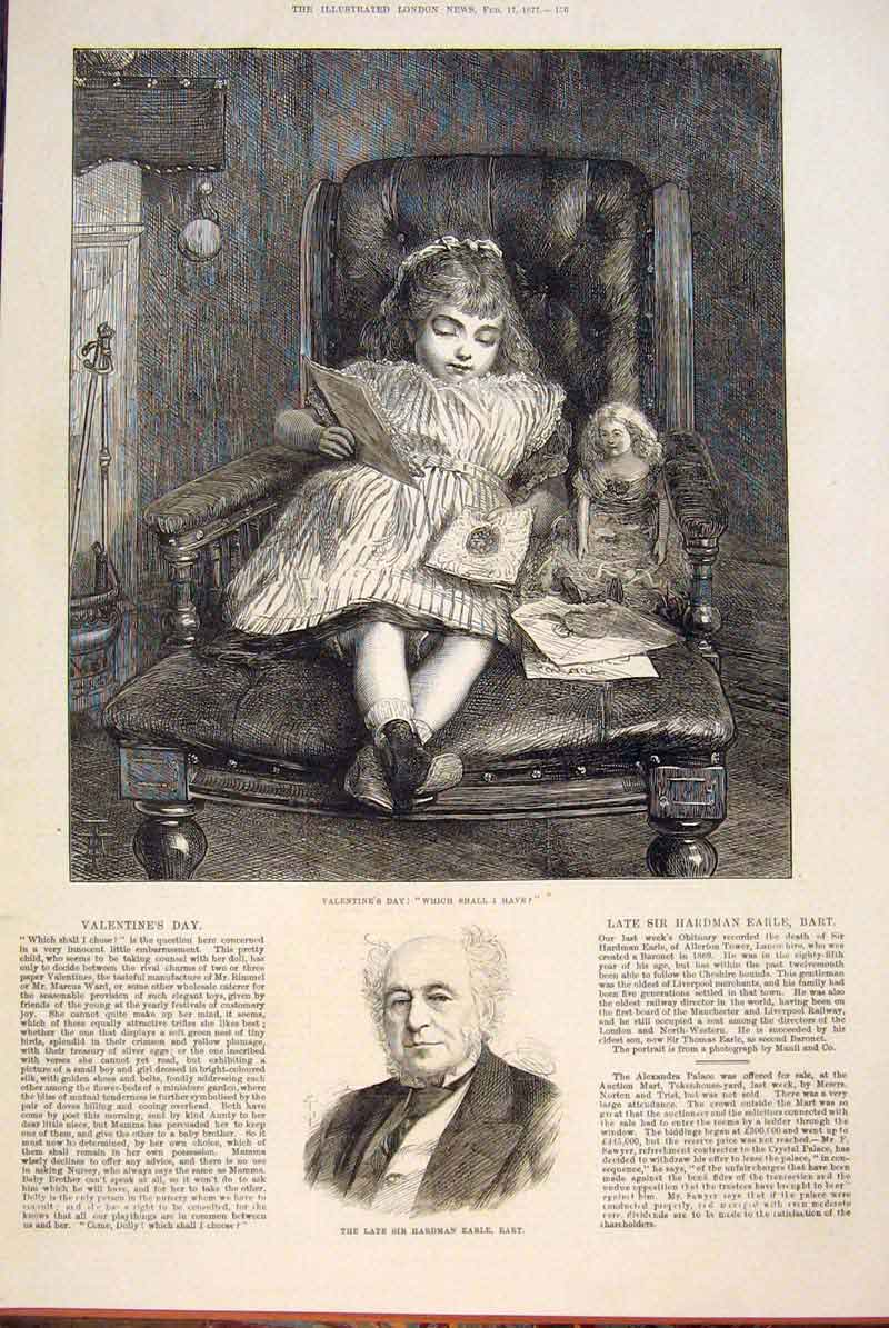 Print Valentine'S Day Girl Child Earle Portrait Merchant 1877 56Maa0 Old Original