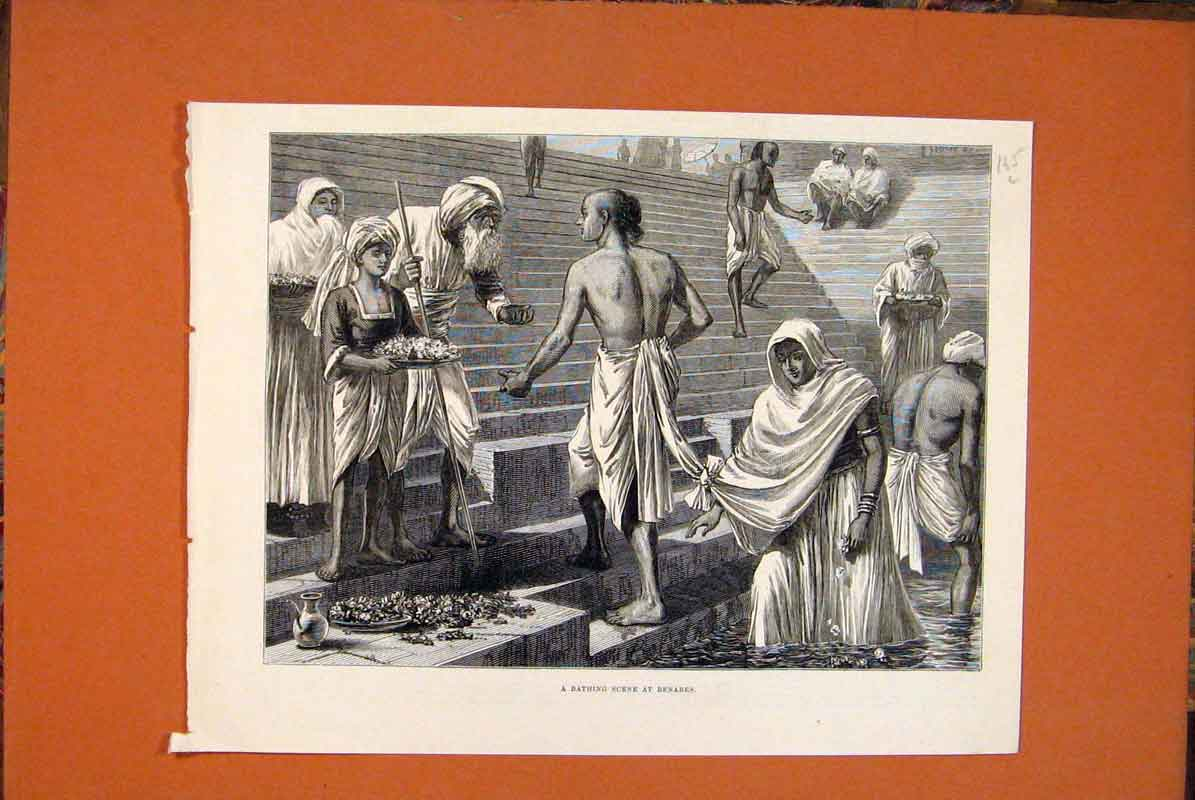 Print Bathing Scene Benares Sketches 1877 65Lmaa0 Old Original