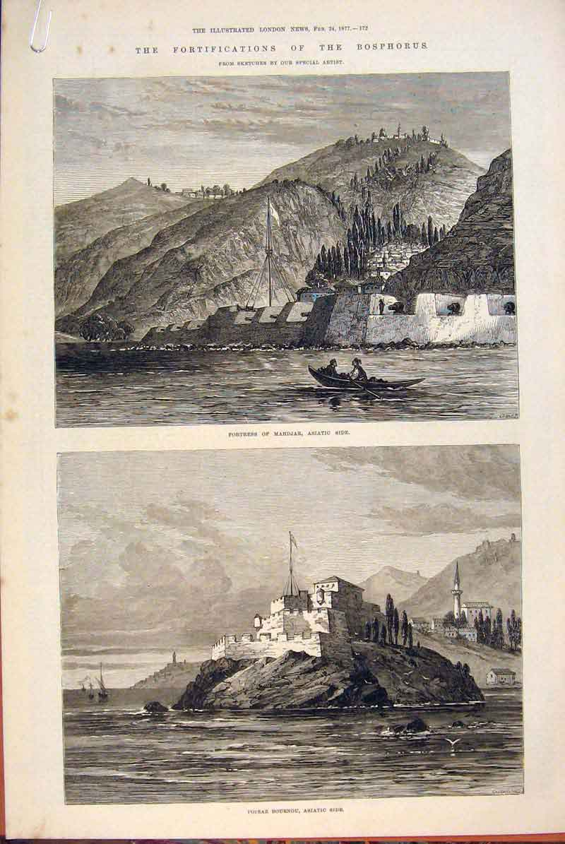 Print Bosphorus Forts Lighthouse Bournou Sketches 1877 72Amaa0 Old Original