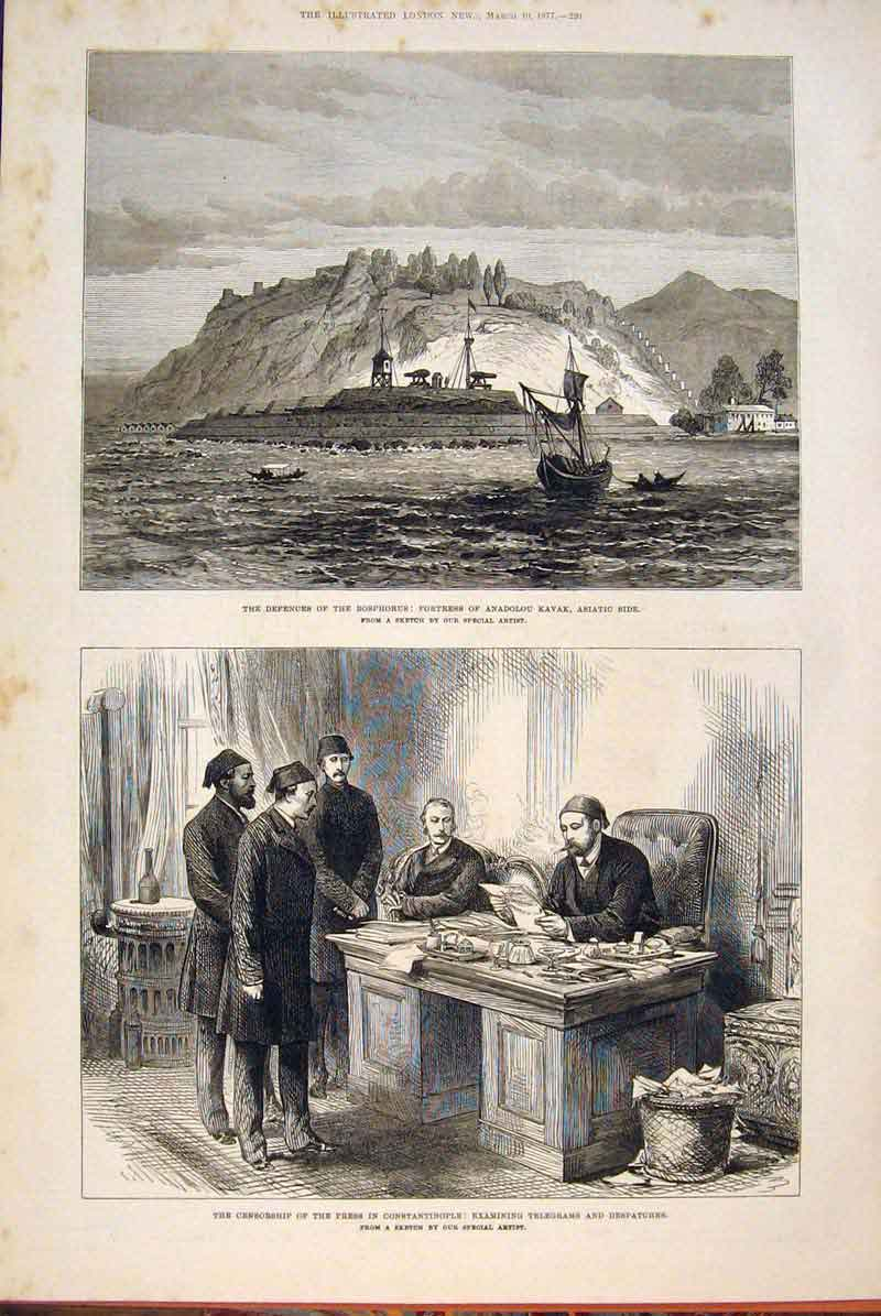 Print Bosphorus Fortress Anadolou Kavak Constantinople 1877 20Maa0 Old Original