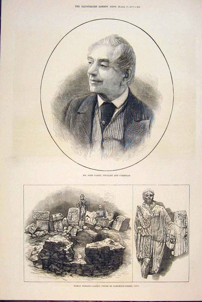 Print Parry Comedian Vocalist Roman Ruins Camomile City 1877 52Maa0 Old Original