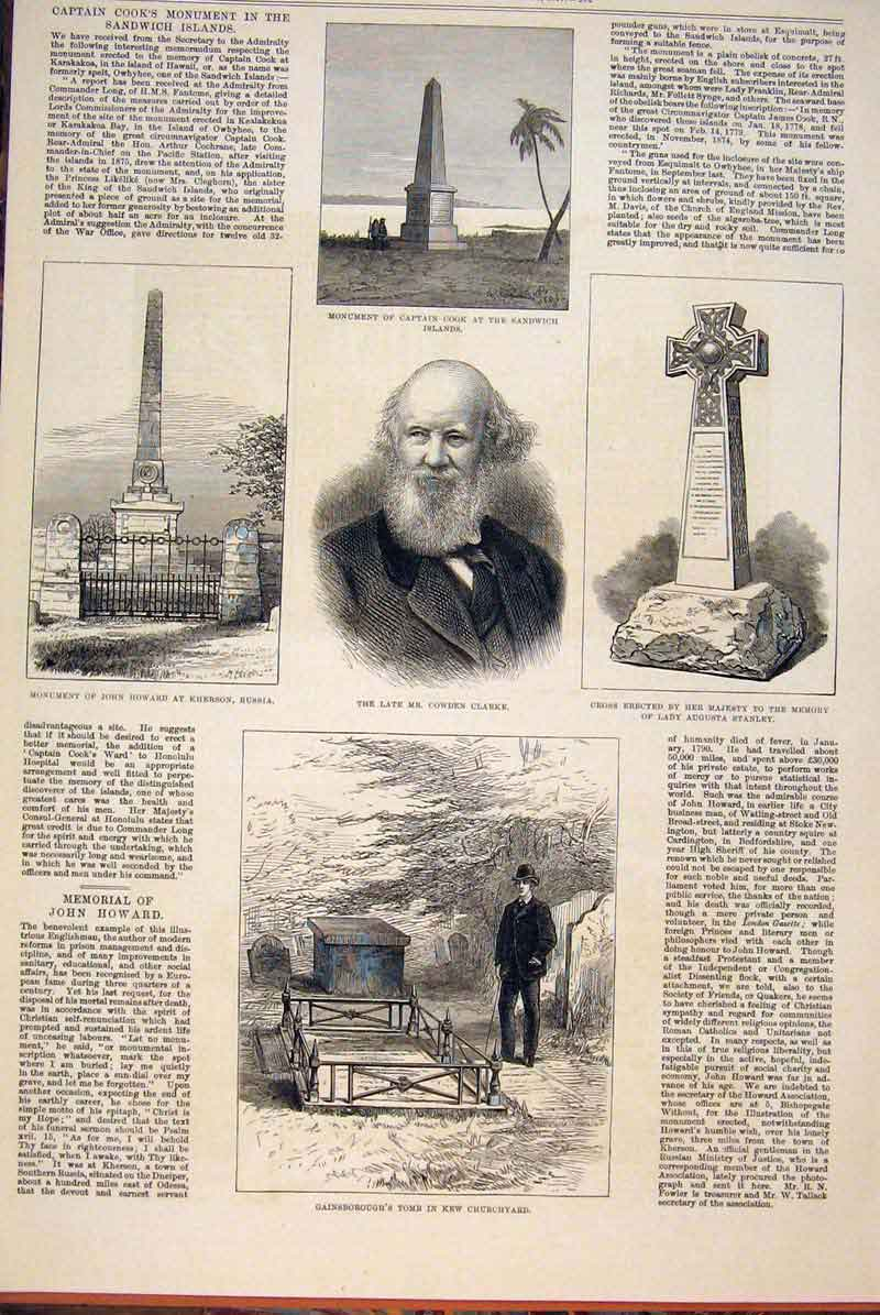Print Howard Cook Clarke Stanley Gainsborough Memorial 1877 92Maa0 Old Original