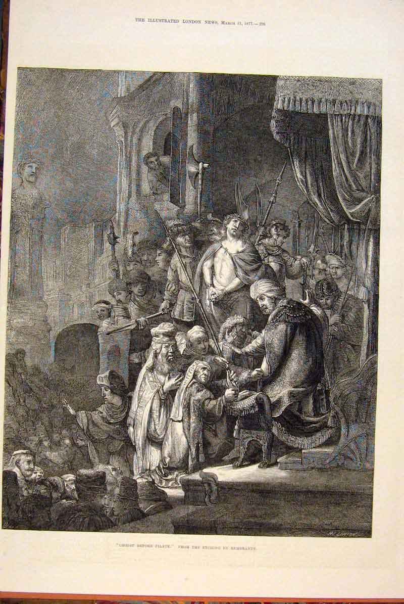 Print Christ Pilate Rembrandt Religious Fine Art 1877 96Maa0 Old Original