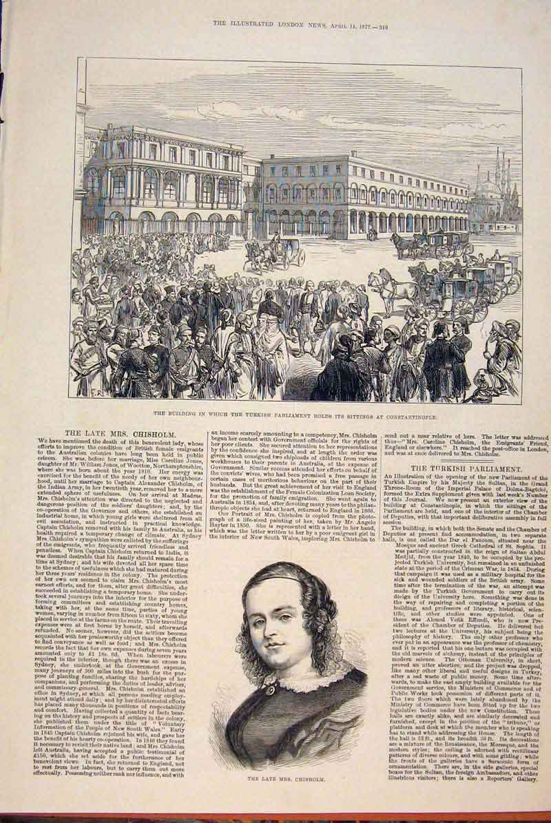 Print Building Turkish Parliament Constantinople Chisholm 49Maa0 Old Original
