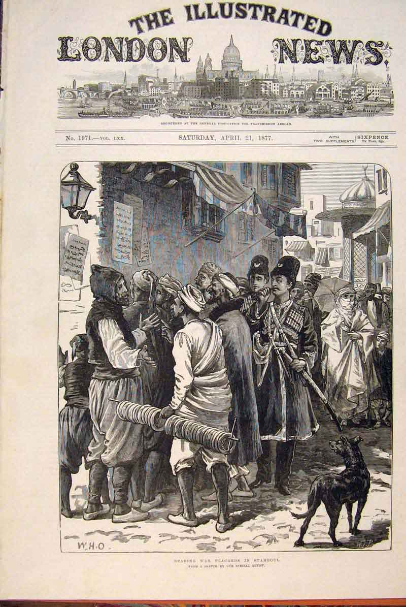 Print War Placards Stamboul Sketch People Street 1877 62Maa0 Old Original
