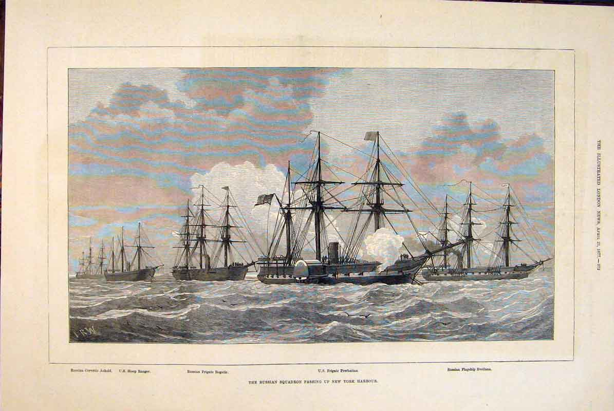 Print Russian Squadron New York Harbour Ships 1877 72Maa0 Old Original
