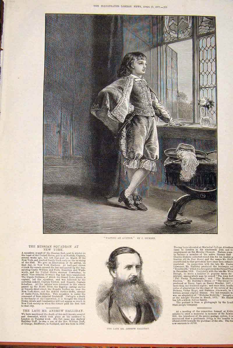 Print Dicksee Waiting Answer Portrait Halliday 1877 73Maa0 Old Original