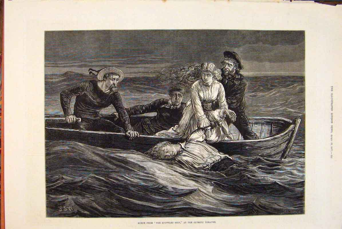 Print Scene Scuttled Ship Olympic Theatre Boat Sea 1877 93Maa0 Old Original