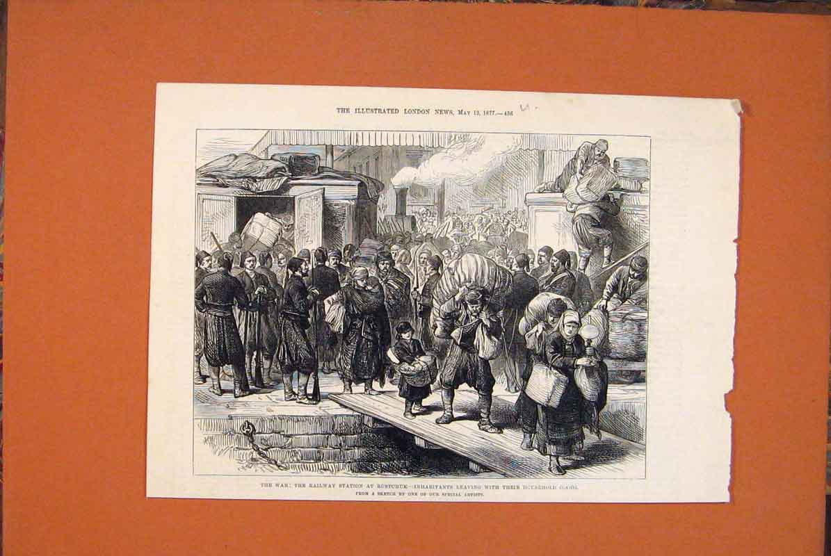 Print War Railway Station Rustchuk 1877 36Umaa0 Old Original