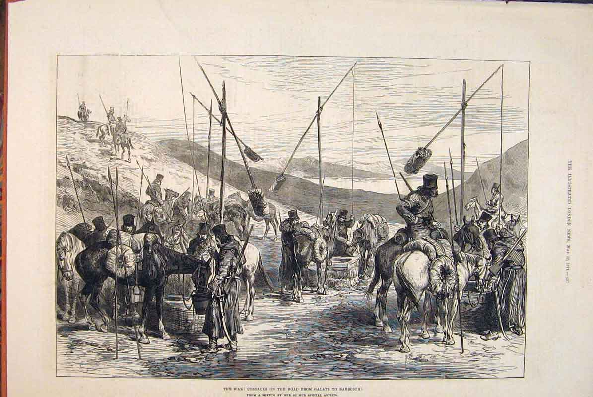 Print War Cossacks Galatz Barboschi Sketch 1877 37Maa0 Old Original