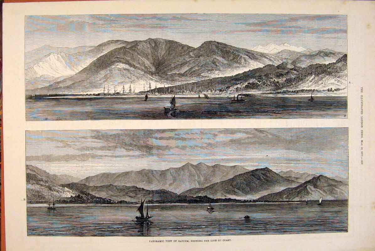 Print Panoramic View Batcum Boats Coast 1877 52Maa0 Old Original
