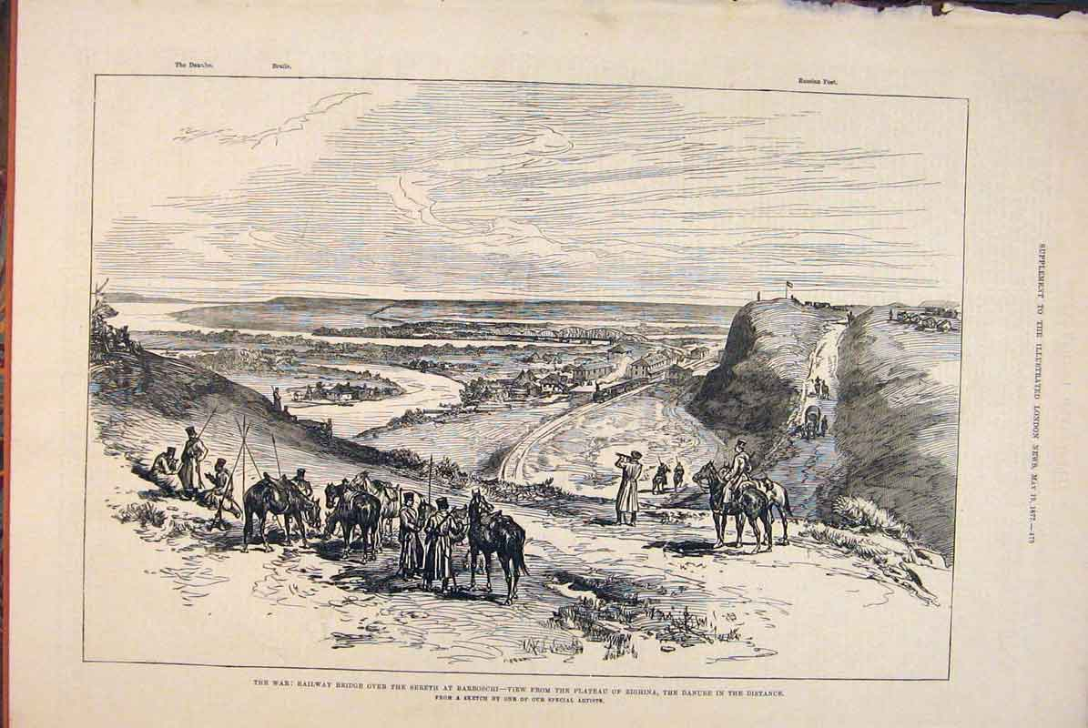 Print War Railway Bridge Sereth Barboschi Sketch 1877 73Maa0 Old Original