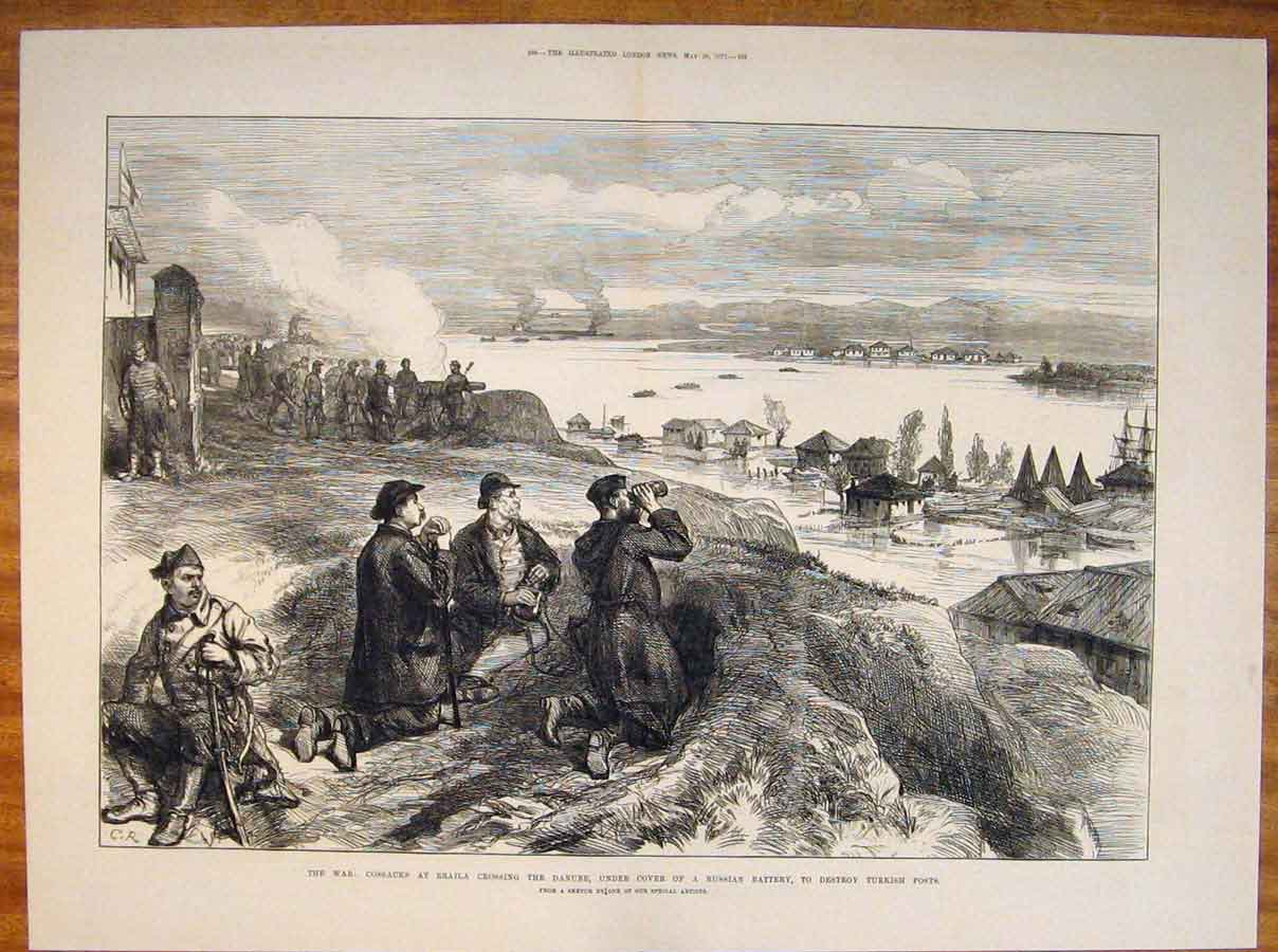 Print War Cossacks Braila Danube Russian Battery Sketch 1877 87Tmaa0 Old Original