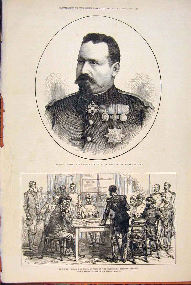 Print War Portrait Slaniceanu Roumania Russian Council 1877 97Maa0 Old Original