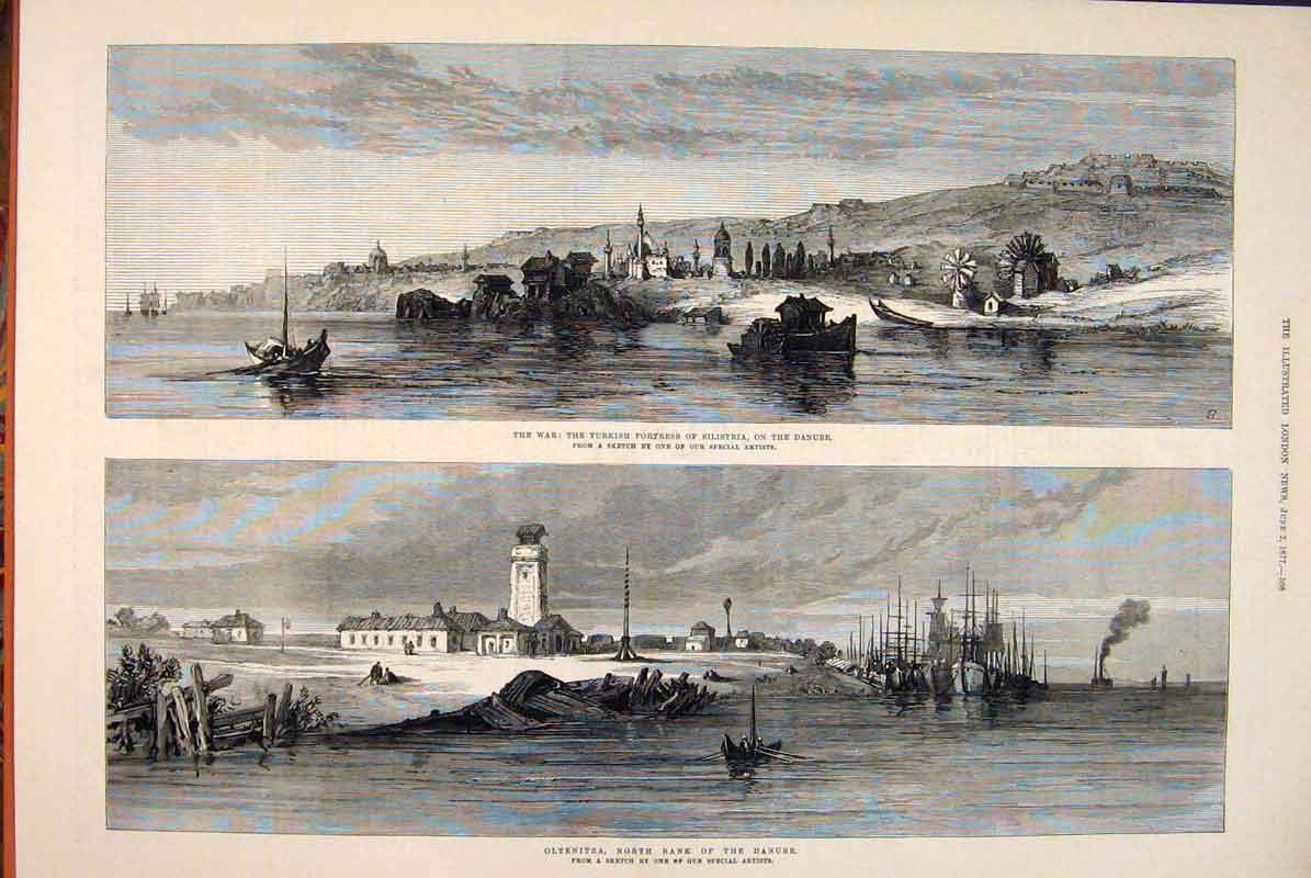 Print War Turkish Fortress Silisttria Danube Oltenitza 1877 08Maa0 Old Original