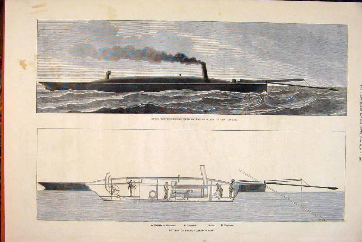 Print Steel Torpedo Vessel Ship Section Sketch Russian Danube 56Maa0 Old Original