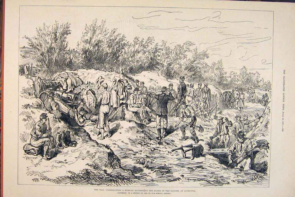 [Print War Russian Battery Danube Oltenitza Sketch 1877 60Maa0 Old Original]