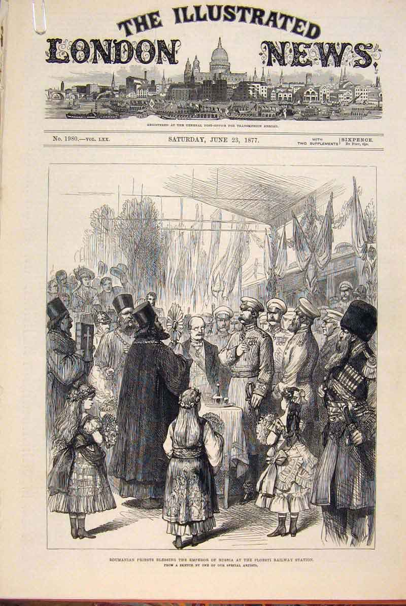 Print Priest Emperor Russia Ploestri War Synagogue Troops 78Amaa0 Old Original