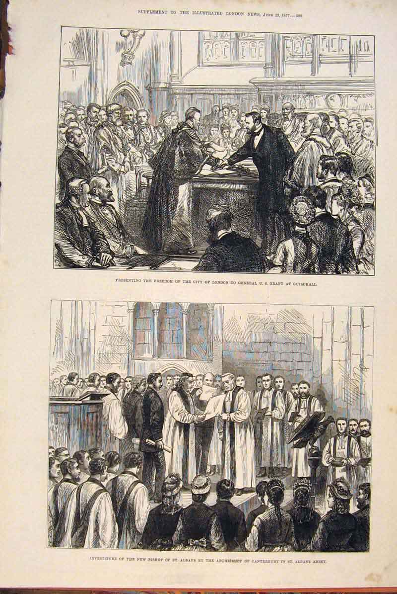 Print St Albans Archbishop Cantebury Abbey Us Grant Guildhall 93Maa0 Old Original