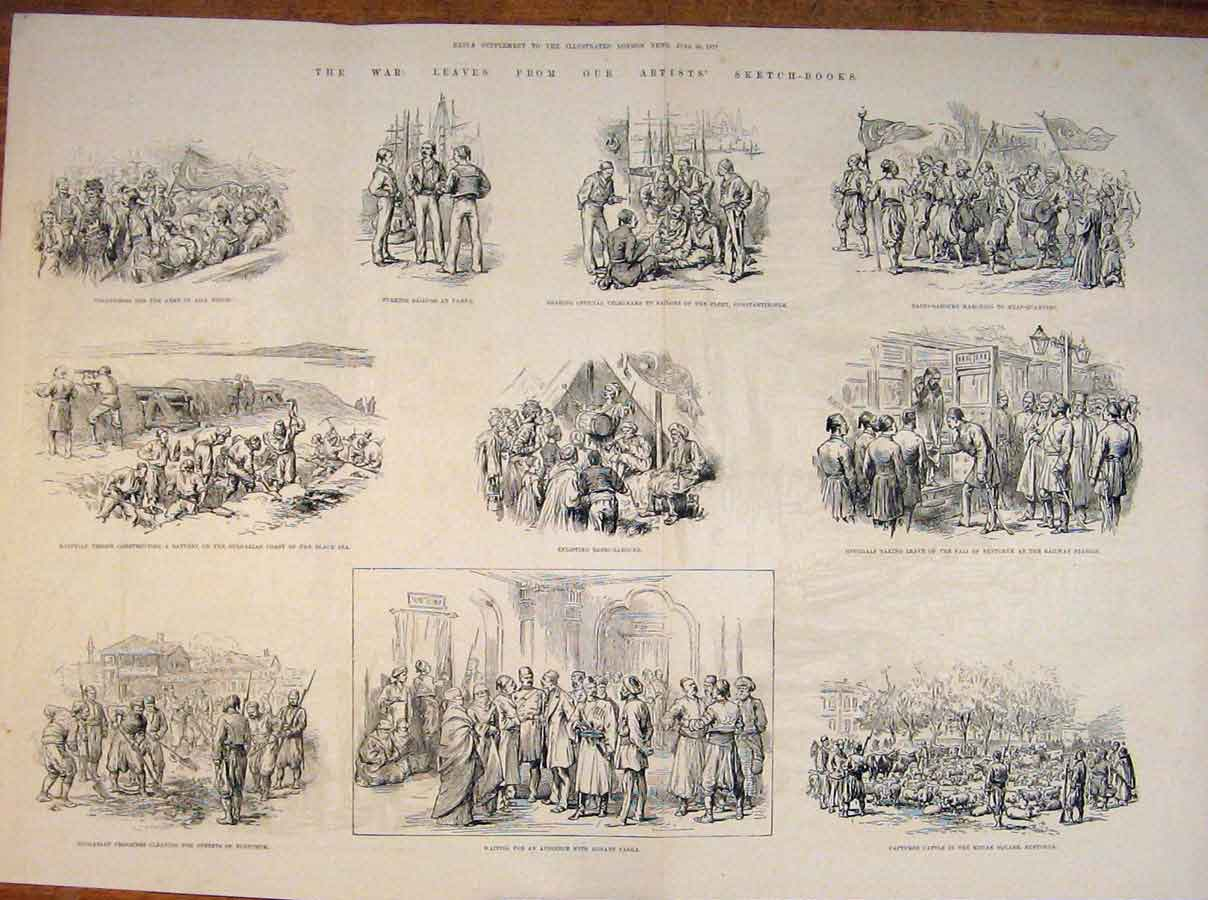 [Print War Circassion Danube Nicopolis Sketches Rustchuk 1877 20Rmaa0 Old Original]