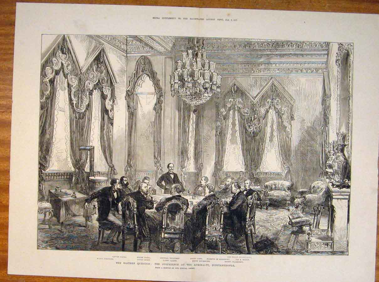 Print Admiralty Constantinople Eastern Conference Sketch 1877 21Tmaa0 Old Original