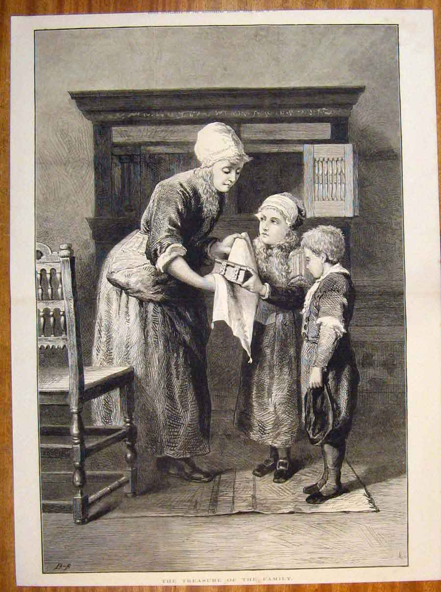 Print Treasure Family Children Mother Fine Art 1877 31Tmaa0 Old Original