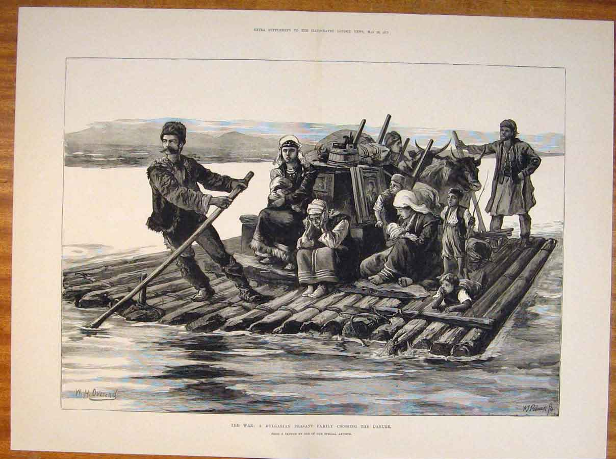 [Print War Bulgarian Peasant Family Danube River Sketch 1877 35Tmaa0 Old Original]