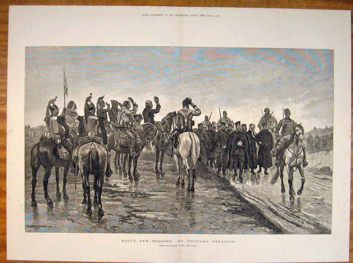 Print Edouard Detaille Salut Aux Blesses French Fine Art 1877 38Tmaa0 Old Original