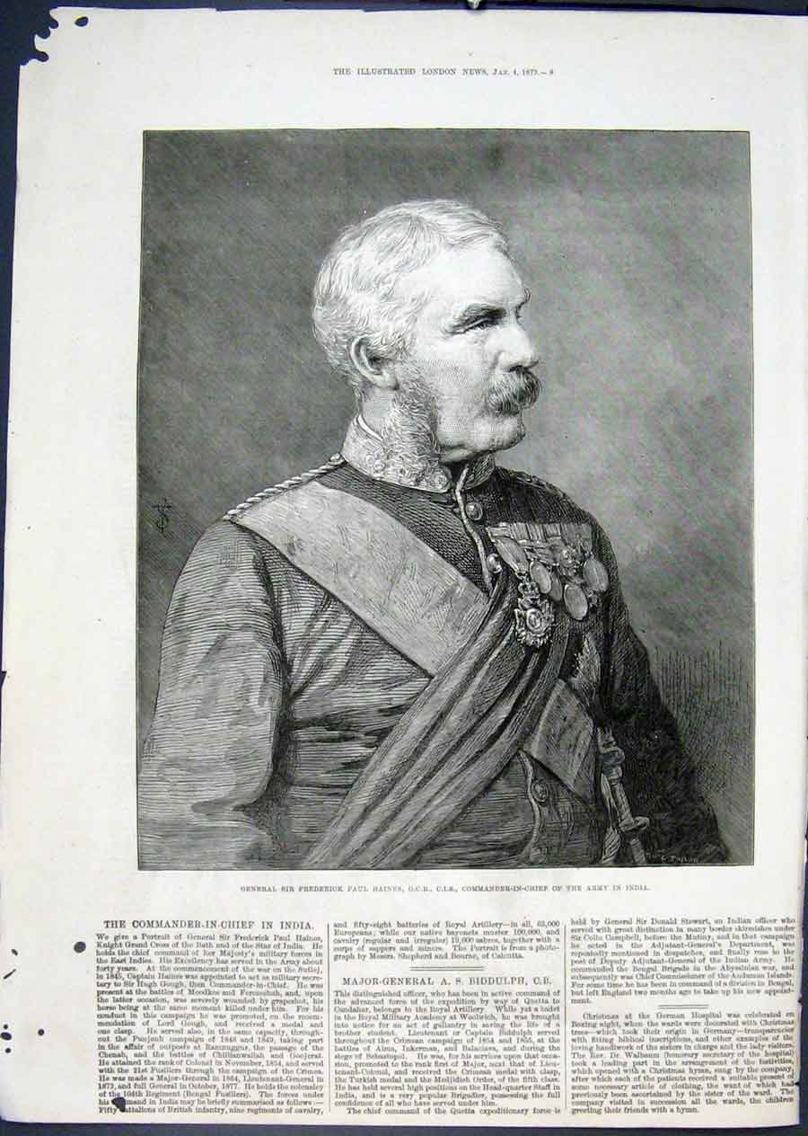 Print Portrait Haines Army India Commander Chief 1879 08Maa0 Old Original
