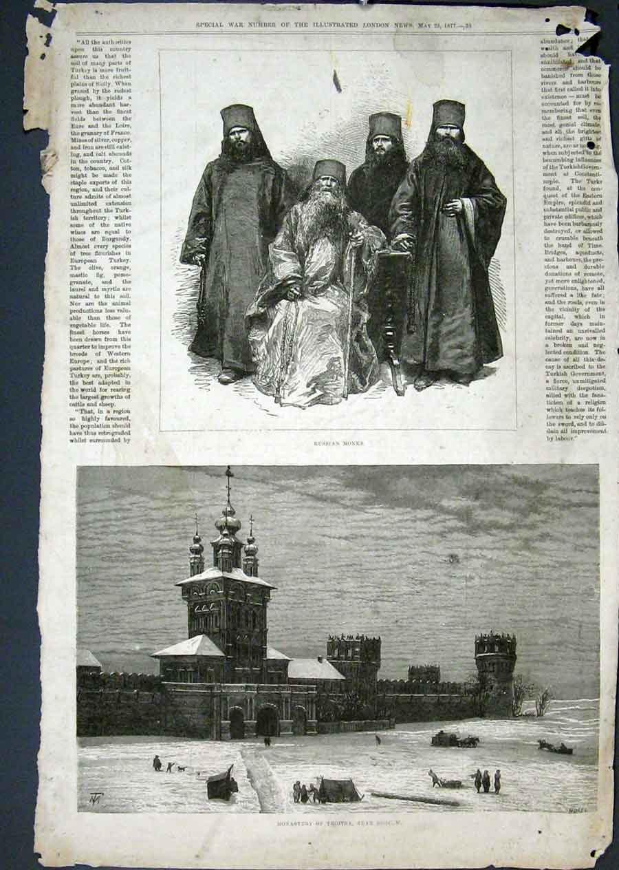 Print Russian Monks Monastery Troitsa Moscow 1879 33Maa0 Old Original