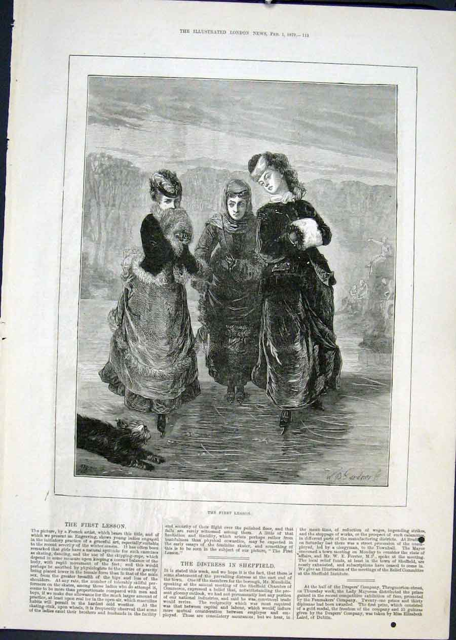 Print First Lesson Gardner French Artist Fine Art 1879 13Maa0 Old Original