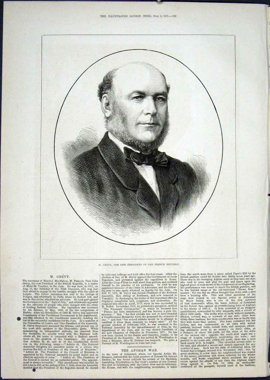 Print Portrait Grevy President French Republic 1879 20Maa0 Old Original