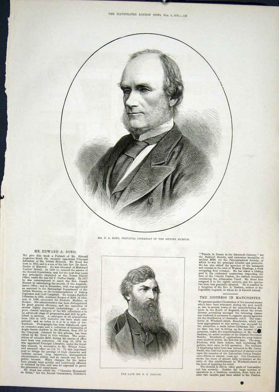 Print Portrait Bond Librarian Museum British Dallas 18797 29Maa0 Old Original