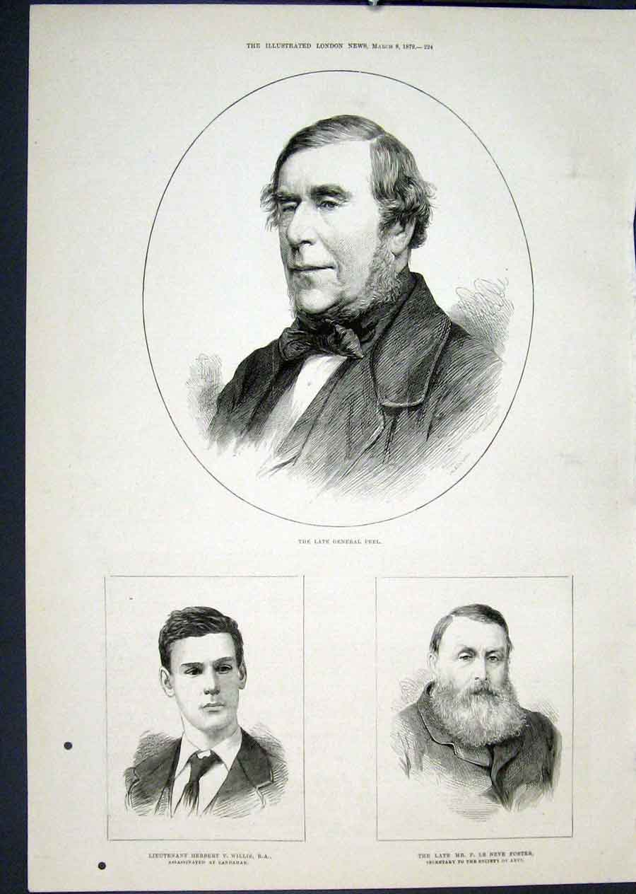 Print Portrait Peel Willis Foster Candahar Arts 1879 24Maa0 Old Original