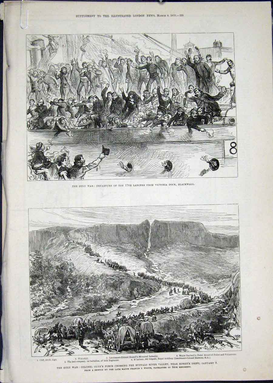 Print Zulu War South Africa Glyn Rorke'S Drift Tugela Pearson 29Amaa0 Old Original
