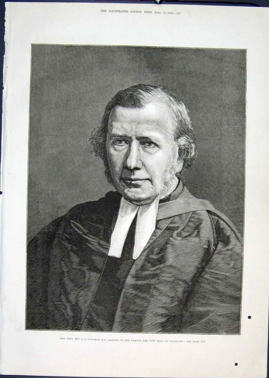 Print Portrait Vaughn Llandaff Dean Temple 1879 77Maa0 Old Original