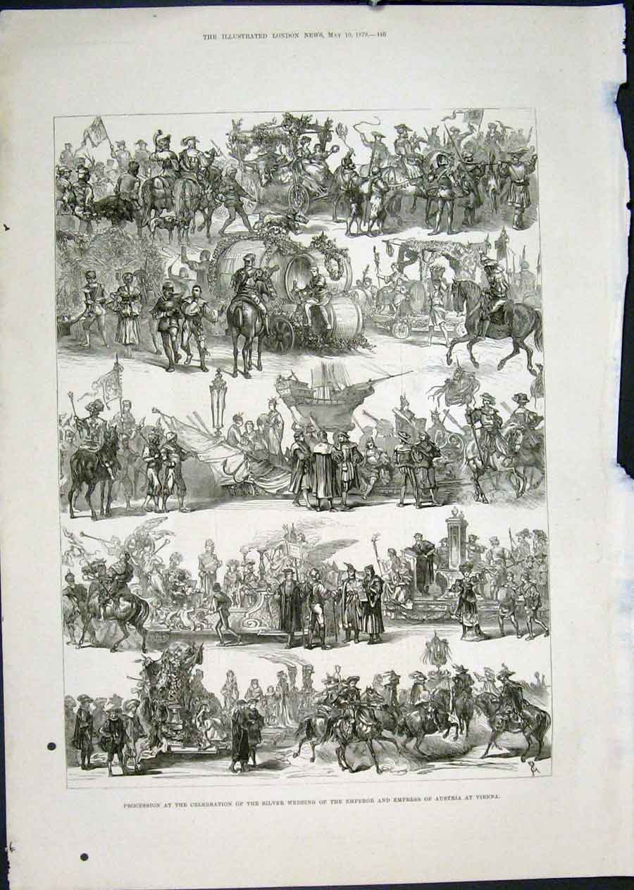 Print Silver Wedding Emperor Austria Vienna Procession 1879 40Maa0 Old Original