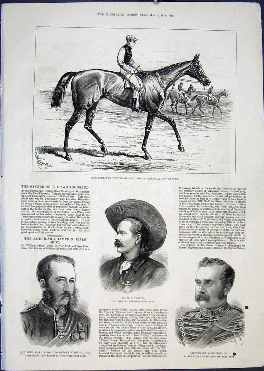 Print Charibert Newmarket Races Carver Nicholson Wood Rifle 49Maa0 Old Original