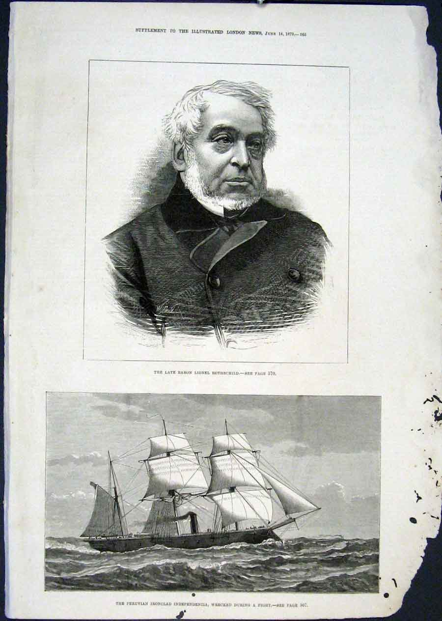 Print Portrait Rothschild Ironclad Indepenencia Wreck 1879 65Maa0 Old Original