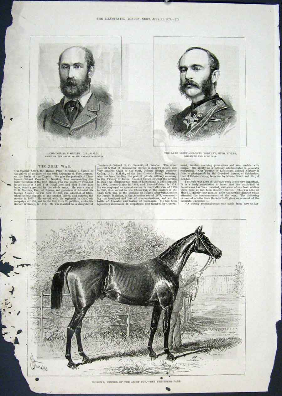 [Print Isonomy Ascot Cup Horse Race Colley Northey Portrait 76Maa0 Old Original]