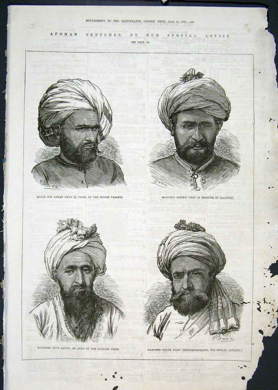 Print Portait Afghan Khan Mahomed Sketch 1879 89Maa0 Old Original