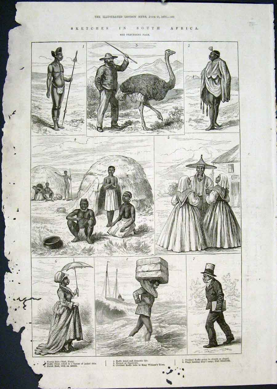 Print South Africa Sketch Kaffir Chief Zulu Malays Port 18797 96Maa0 Old Original