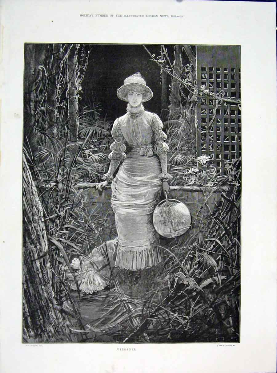 Print Virginie Lady Ludlow Taylor Fine Art 1882 Illustration 33Maa0 Old Original