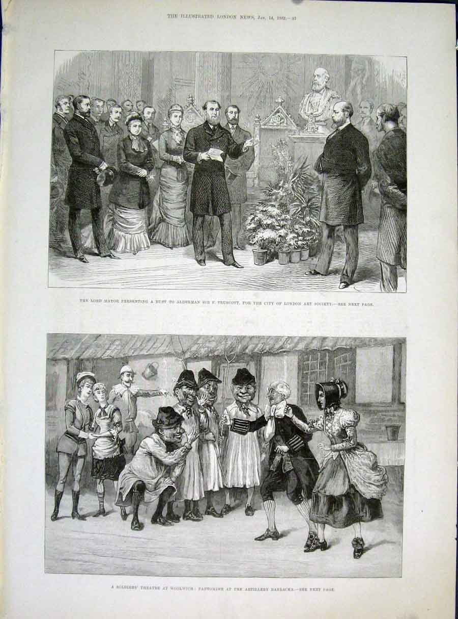 Print Truscott London Art Society Theatre Artillery 1882 37Maa0 Old Original