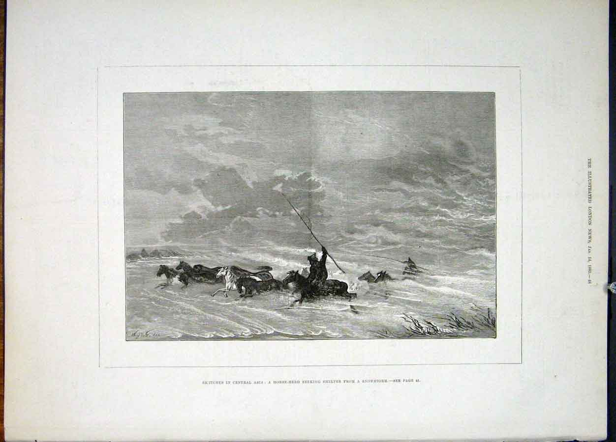 Print Sketches Central Asia Horse Herd Snowstorm Horses 1882 48Maa0 Old Original