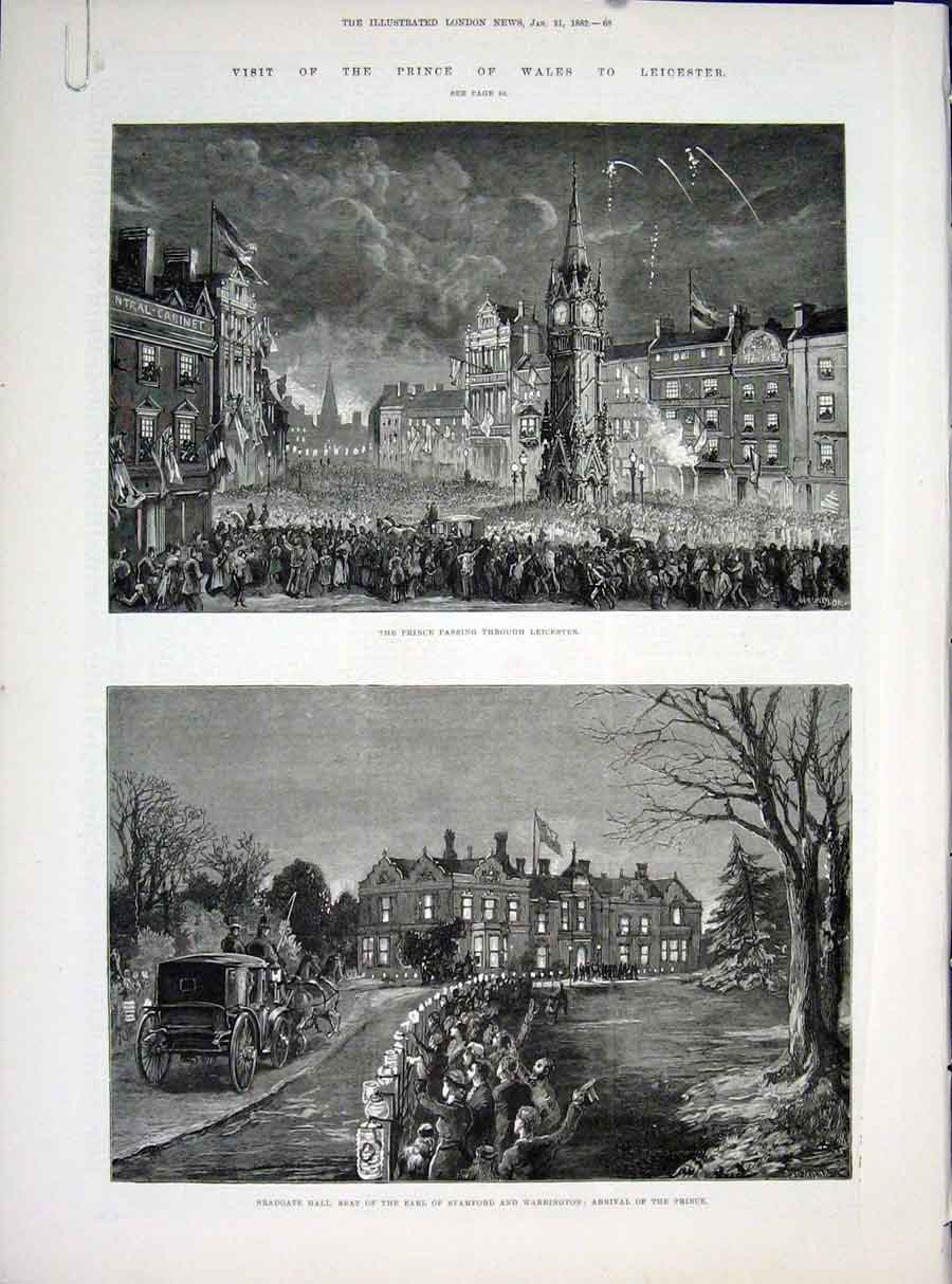 Print Prince Wales Leicester Bradgate Hall Abbey 1822 68Amaa0 Old Original