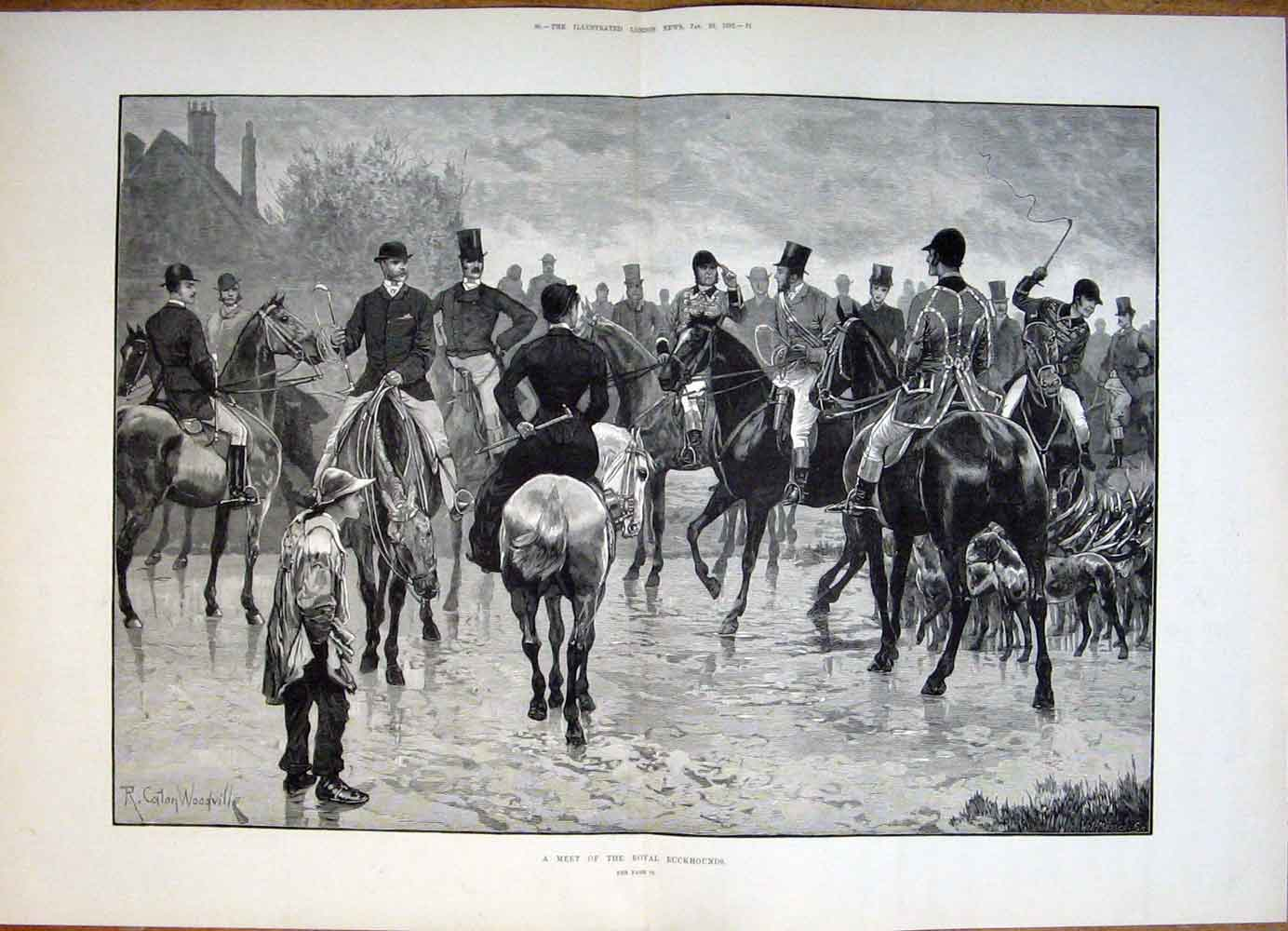 Print Royal Buckhounds Buck Hounds Meet Hunt Hunting 1882 79Tmaa0 Old Original