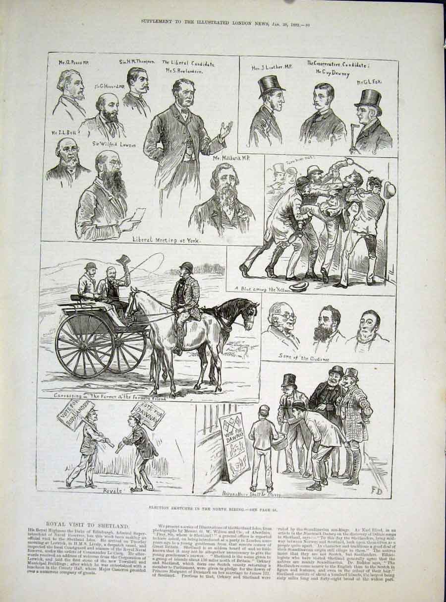 Print Election Sketch North Riding Liberal Conservative 1882 89Maa0 Old Original