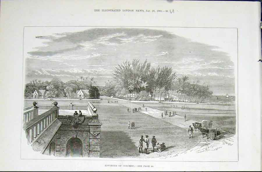 Print Colombo India Illustrated London News 1882 96Umaa0 Old Original